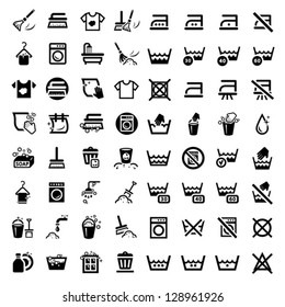 64 Laundry And Washing Icons for web and mobile. All elements are grouped.