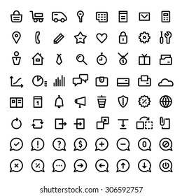 64 mini icons for web services and online shops