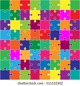64 Multi ColorPuzzles Pieces Arranged in a Square - JigSaw - Vector Illustration. Jigsaw Puzzle Blank Template or Cutting Guidelines 8:8 Ratio. Vector Background.