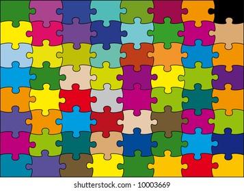 64 pieces puzzle vector color