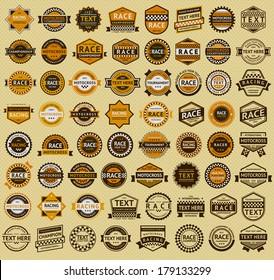 64 Racing badges - vintage style. Big orange set, vector illustration