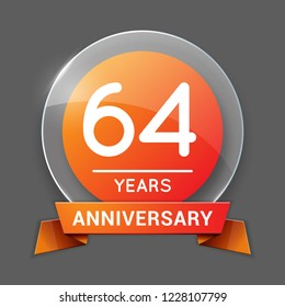 64 / Sixty Four Years Anniversary Logo with Glass Emblem Isolated. 64th Celebration. Editable Vector Illustration.