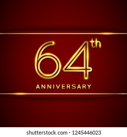 64 / Sixty Four Years Anniversary Logo with Shiny Golden Number on Red Background Isolated. 64th Celebration Event. Can Use for Poster, Invitation and Greeting Card. Easily Editable Vector.