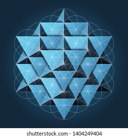 64 Tetrahedrons Grid with Flower of Life Sacrd Geometry