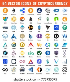 64 vector icons of Cryptocurrency