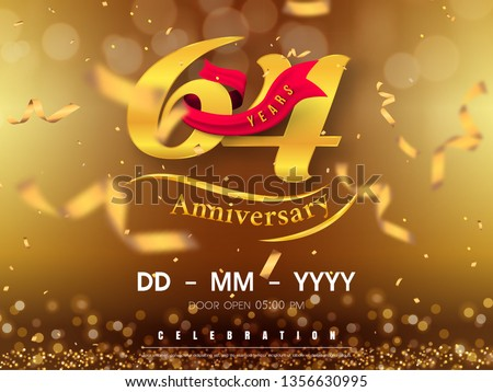 64 Years Anniversary Logo Template On Stock Vector (Royalty