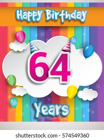 64 Years Birthday Celebration, with balloons and clouds, Colorful Vector design for invitation card and birthday party.