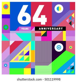64th years greeting card anniversary with colorful number and frame. Memphis style cover and design template