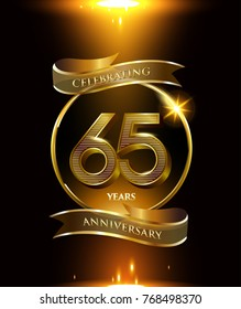65 anniversary logo with golden ring and ribbon colored isolated on black background, vector design for party greeting card and invitation card. celebration logotype template