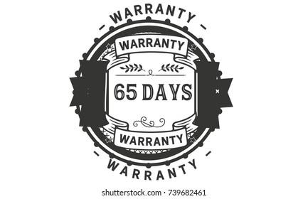65 days warranty icon vintage rubber stamp guarantee