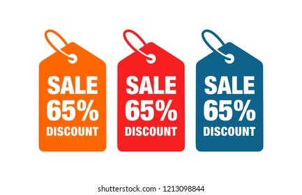 65% discount label symbols vector