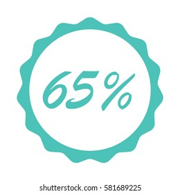 65 Percent % sign vector illustration with scalloped sunburst seal sticker background for retail marketing or price reduction sale