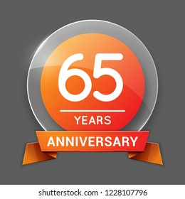 65 / Sixty Five Years Anniversary Logo with Glass Emblem Isolated. 65th Celebration. Editable Vector Illustration.