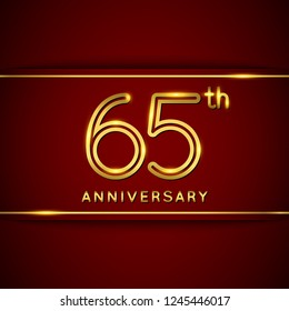 65 / Sixty Five Years Anniversary Logo with Shiny Golden Number on Red Background Isolated. 65th Celebration Event. Can Use for Poster, Invitation and Greeting Card. Easily Editable Vector.