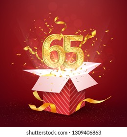 65 th years number anniversary and open gift box with explosions confetti isolated design element. Template sixty five birthday celebration on red background vector Illustration.