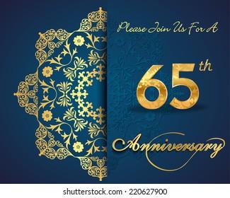 65 year anniversary celebration pattern design, 65th anniversary decorative Floral elements, ornate background, invitation card - vector eps10
