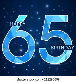 65 year birthday celebration label, 65th anniversary decorative polygon emblem - vector illustration