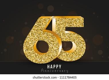 65 - year happy anniversary banner. 65th anniversary gold logo on dark background.