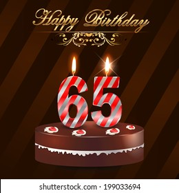 65 year Happy Birthday Card with cake and candles, 65th birthday - vector EPS10
