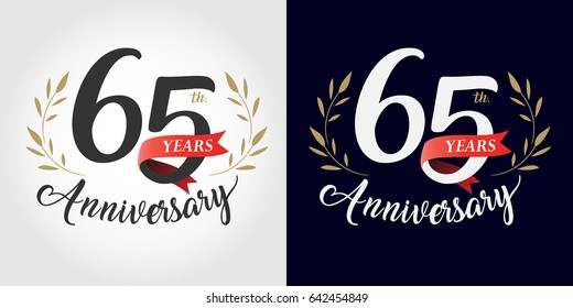 65 years, 65th anniversary, number, hand writing, and red ribbon. vintage style