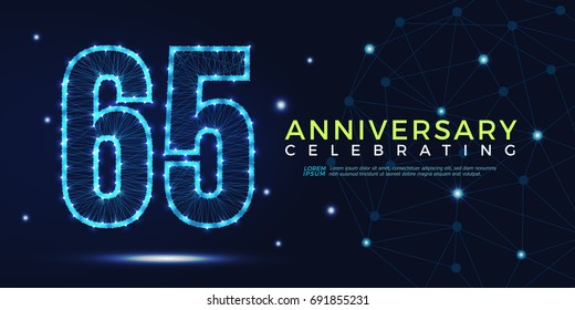 65 years anniversary celebrating numbers vector abstract polygonal silhouette. 65th anniversary concept. technology numbers vector illustration