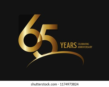 65 years anniversary celebration design. anniversary logo with swoosh and golden color isolated on black background, vector design for greeting card and invitation card.