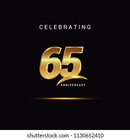 65 Years anniversary celebration golden logotype with swoosh isolated on black background, vector illustration design for greeting card, company event, invitation card, birthday