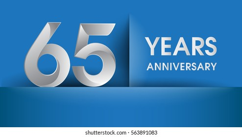 65 years Anniversary celebration logo, flat design isolated on blue background, vector elements for banner, invitation card and birthday party.