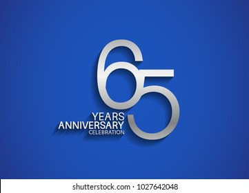 65 years anniversary celebration logotype with silver color isolated on blue background