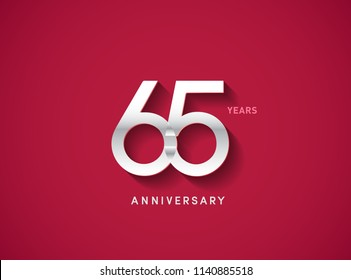 65 years anniversary celebration logotype with silver color isolated on Red background