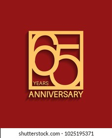 65 years anniversary design logotype golden color in square isolated on red background for celebration event