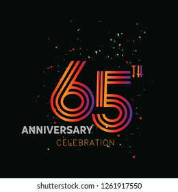 65 years anniversary design template Vector and illustration, collaboration between purple and rainbow with a dark background, gliter