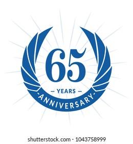 65 years anniversary. Elegant anniversary design. 65 years logo.