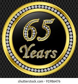 65 years anniversary golden icon with diamonds, vector illustration