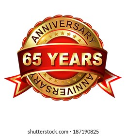 65 years anniversary golden label with ribbon.  Vector illustration.