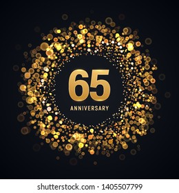 65 years anniversary isolated vector design element. Sixty five birthday logo with blurred light effect for dark background