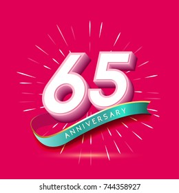 65 years anniversary logo celebration with firework and ribbon