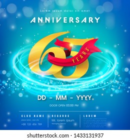 65 years anniversary logo template on blue Abstract futuristic space background. 65th modern technology design celebrating numbers with Hi-tech network digital technology concept design elements.