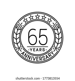 65 years anniversary logo template. 65th line art vector and illustration.
