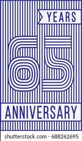 65 years anniversary logo. Vector and illustration. Line art anniversary design template.