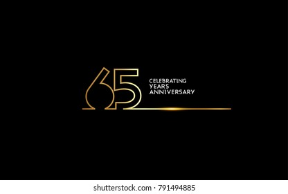 65 Years Anniversary logotype with golden colored font numbers made of one connected line, isolated on black background for company celebration event, birthday