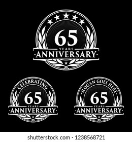 65 years anniversary set. 65th celebration logo collection. Vector and