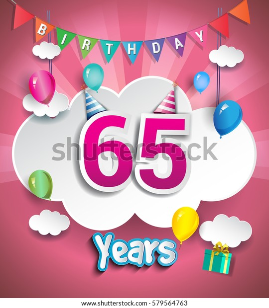 65 Years Birthday Design For Greeting Cards And Poster With Clouds Gift Box
