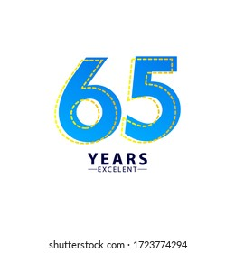 65 Years Excellent Anniversary Celebration Blue Dash Vector Template Design Illustration