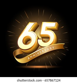 65 years golden anniversary logo celebration with firework and ribbon
