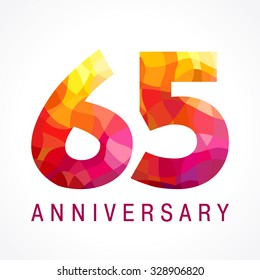 65 years old celebrating fiery logo. Anniversary flamed year of 65 th. Facet congrats flamy numbers. Flaming greetings celebrates with 3D volume. Stained glass flames. Mosaic red colored background.