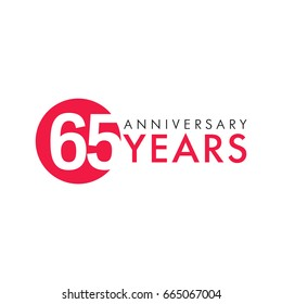 65 years old logo. Celebrating anniversary, congratulating vector numbers. Greetings of 65th idea. Colored traditional digital logotype of ages or % off.