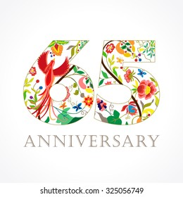 65 years old luxurious celebrating folk logo. Template colored 65 th happy anniversary greetings, ethnics flowers, plants, paradise birds. Traditional decorative congratulation in various colors.