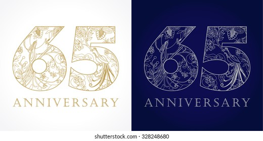 65 years old luxurious celebrating folk numbers. Template gold and silver colored 65 th happy anniversary greetings, ethnics flowers, plants, paradise birds. Set of traditional congratulation pattern.