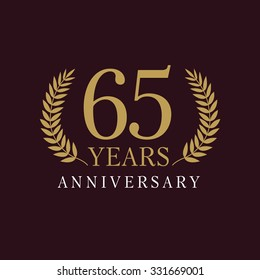 65 years old luxurious numbers. Congratulations 65 th vector gold colored template framed of palms. Greetings ages celebrates. Celebrating traditional branches sixty five. Isolated 6th place of win.